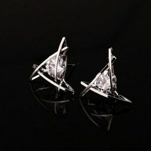 2 pair of beautiful triangle earrings with crystal